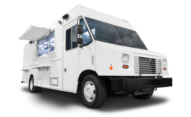White food truck on white background